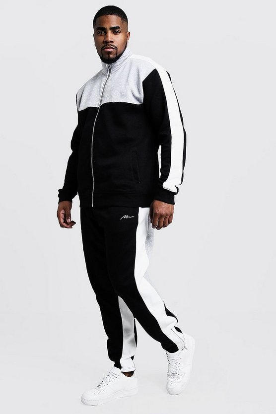 Black Big & Tall Colour Block Funnel Neck Tracksuit