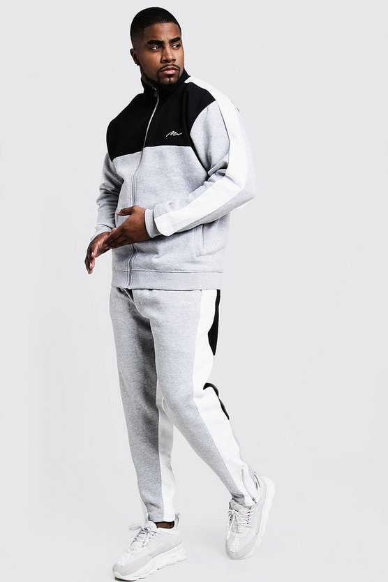 Mens Grey Big & Tall Colour Block Funnel Neck Tracksuit
