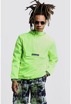 Mens Neon-yellow Hooded Cagoule With Rubber Branding
