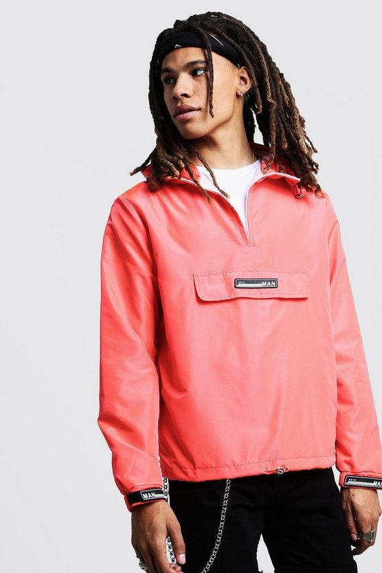 Coral Hooded Cagoule With Rubber Branding