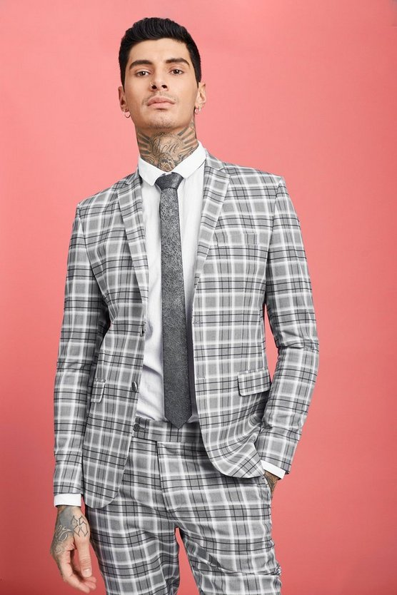 Grey Prince Of Wales Skinny Fit Check Suit Jacket