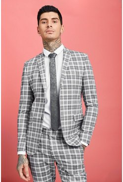 Mens Grey Prince Of Wales Skinny Fit Check Suit Jacket