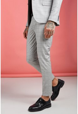 Mens Grey Jaspe Prince Of Wales Skinny Fit Pants