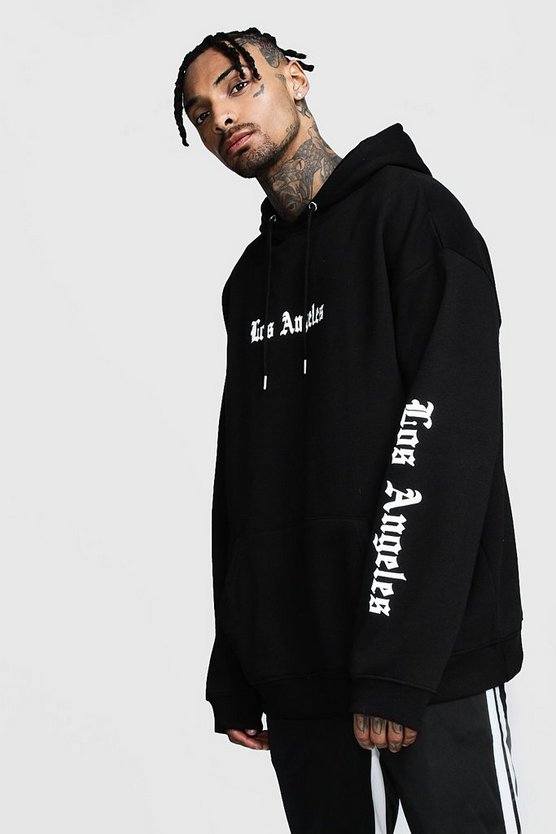 Mens Black Los Angeles Reflective Print Oversized Hoodie