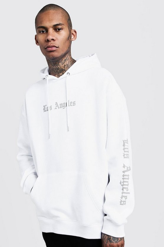 Los Angeles Reflective Print Oversized Hoodie