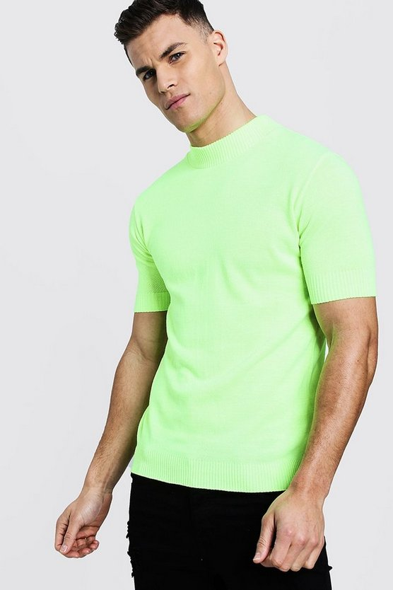 Mens Neon-yellow Neon Short Sleeve Turtle Neck Knitted T-Shirt