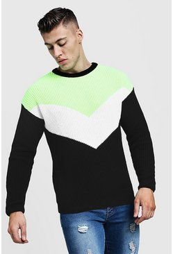 Mens Neon-yellow Drop Shoulder Intarsia Knitted Jumper