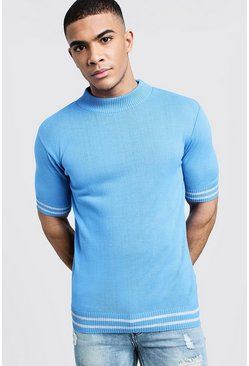 Mens Light blue Turtle Neck Stripe Detail Knitted Tee