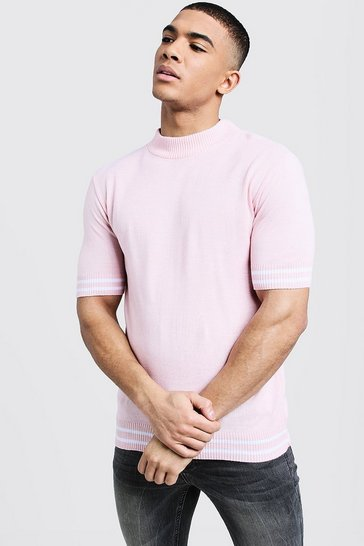Mens Pastel pink Turtle Neck Stripe Detail Knitted Tee