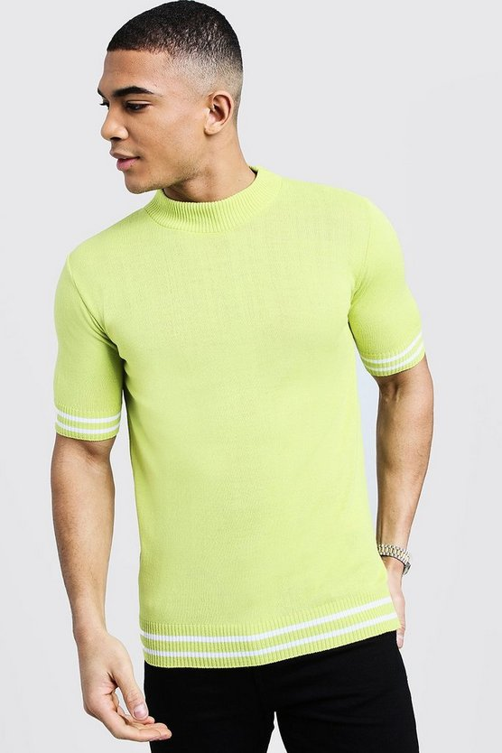 Lime Turtle Neck Stripe Detail Knitted Tee