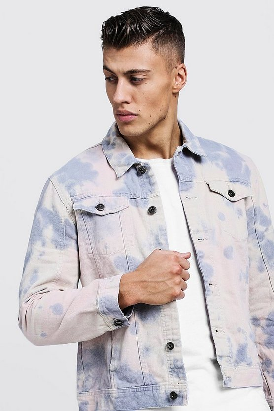 Mens Multi Tie Dye Denim Jacket