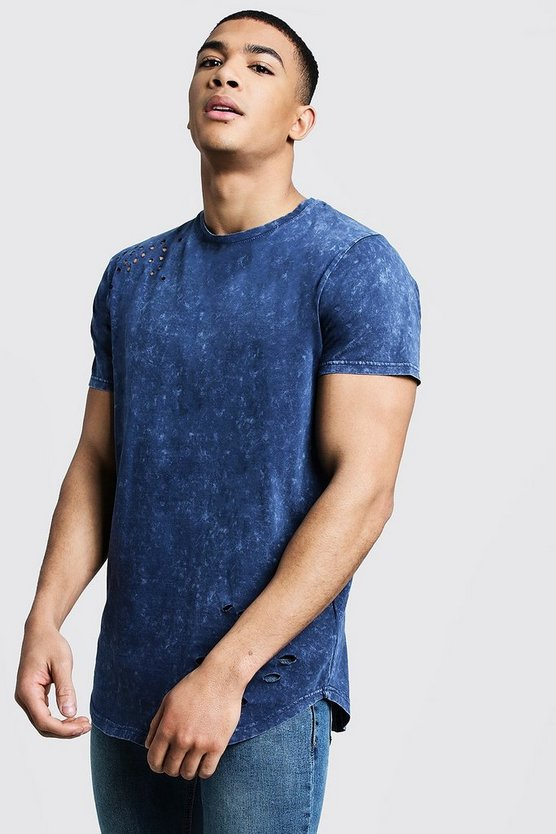 Washed Curved Hem Distressed T-Shirt