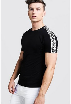 Mens Black Crew Neck T-Shirt With Leopard Print Panel