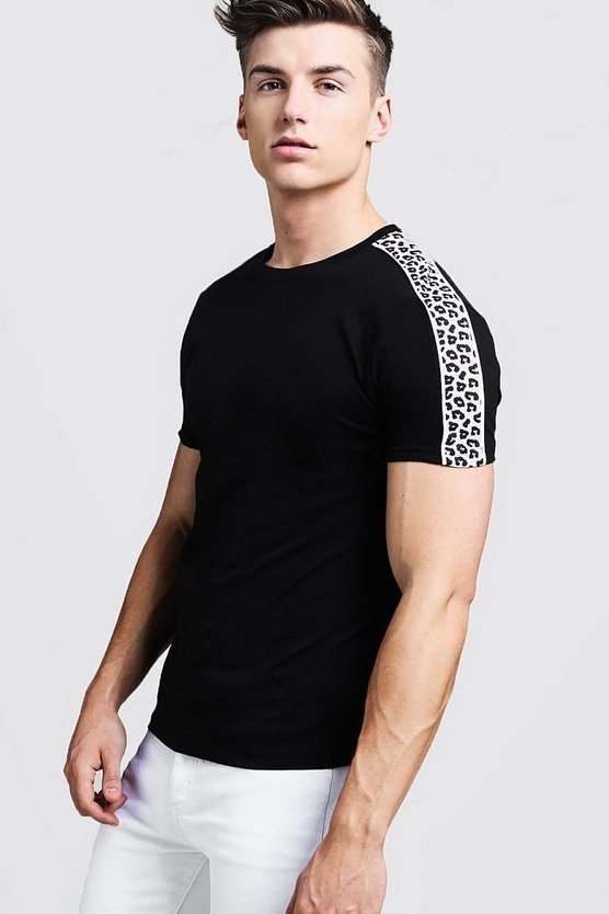 Crew Neck T-Shirt With Leopard Print Panel