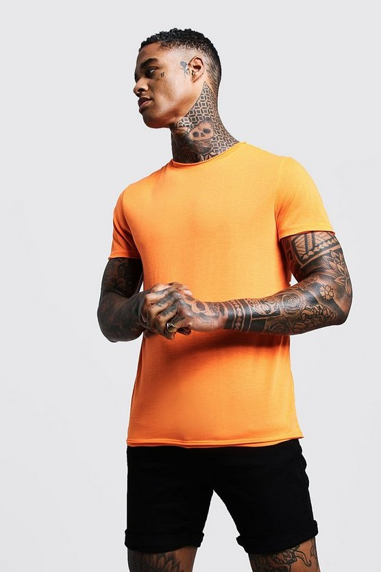 Mens Orange Crew Neck Raw Edge T-Shirt