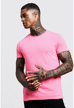 Mens Pink Crew Neck Raw Edge T-Shirt