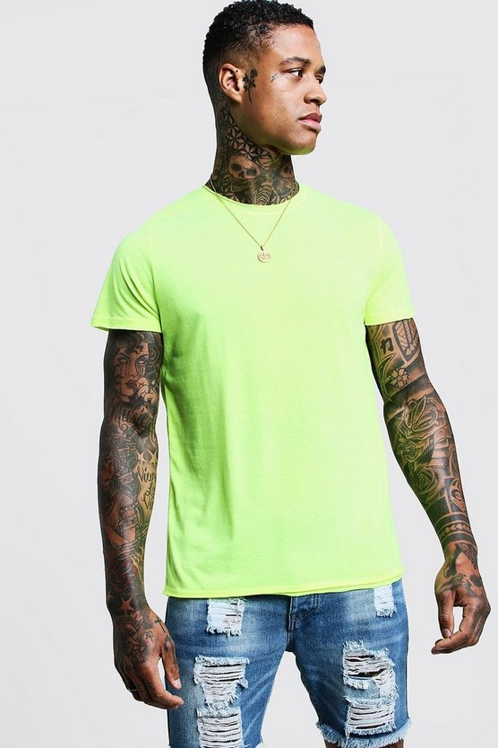 Mens Yellow Crew Neck Raw Edge T-Shirt