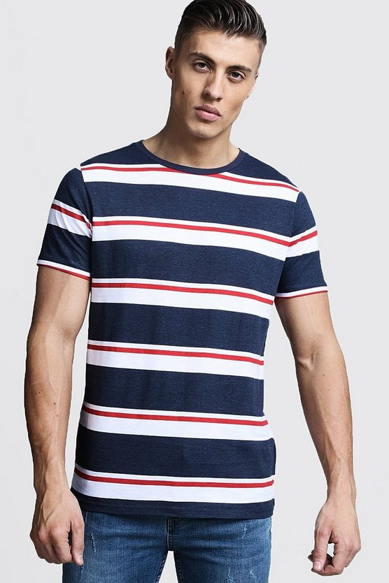Mens Navy Retro Stripe T-Shirt