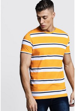 Mens Orange Retro Stripe T-Shirt