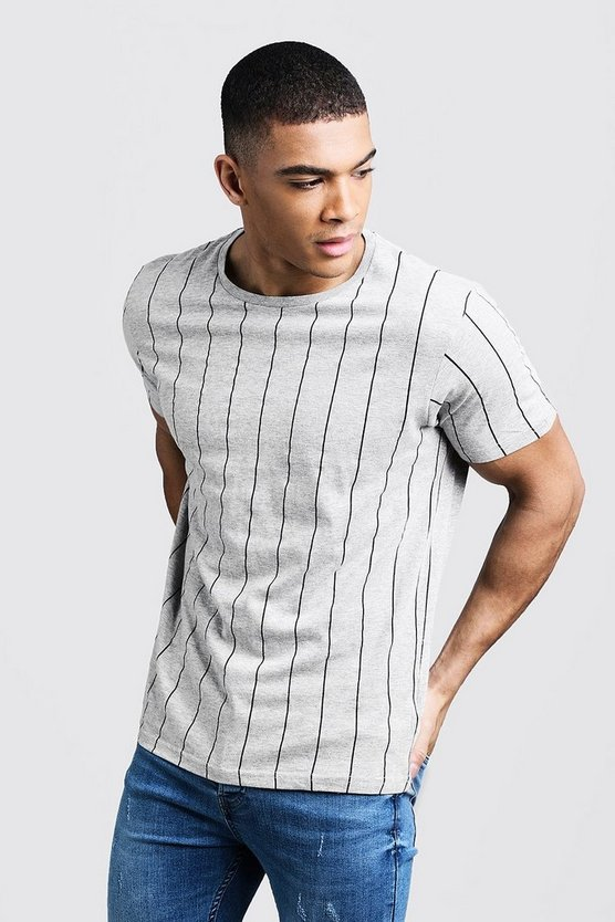 Mens Grey Stripe Crew Neck T-Shirt