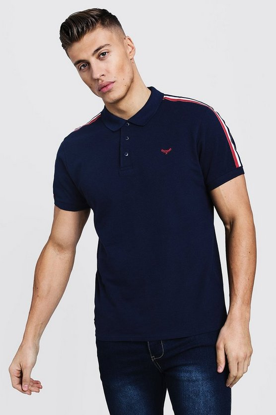 Mens Navy Muscle Fit Pique Polo With Tape Detail