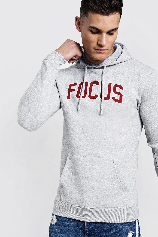 Focus Slogan Print Over The Head Regular Hoodie