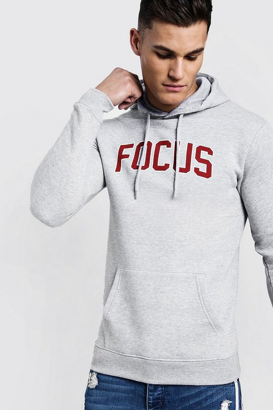Focus Slogan Print Over The Head Regular Hoodie
