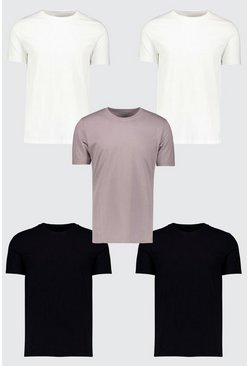 Herr Multi 5 Pack Basic Crew Neck T-Shirt