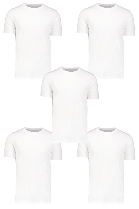 5 Pack White Basic Crew Neck T-Shirt