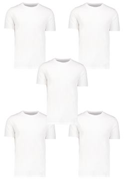 Mens 5 Pack White Basic Crew Neck T-Shirt