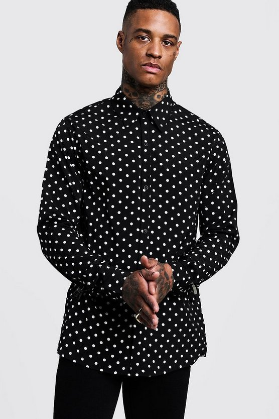Mens Black Polka Dot Long Sleeve Oversized Shirt