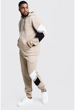 Mens Taupe Big & Tall Tracksuit With Contrast Panels