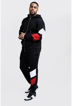 Mens Black Big & Tall Tracksuit With Contrast Panels