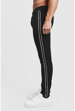 Mens Black Skinny Fit Rigid Jeans With Side Tape
