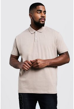 Mens Taupe Big & Tall Short Sleeve Polo