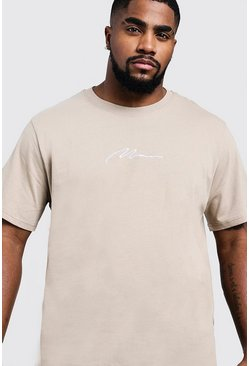 Mens Taupe Big & Tall MAN Signature Embroidered T-Shirt