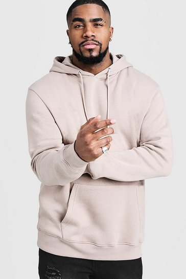 Mens Taupe Big And Tall Basic Over The Head Fleece Hoodie