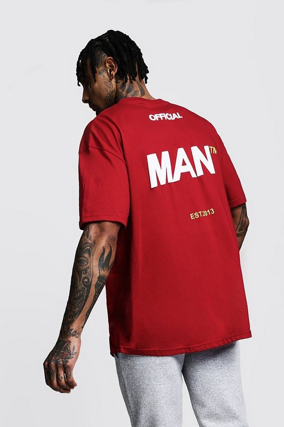 Mens Red Oversized Official MAN Back Print T-Shirt