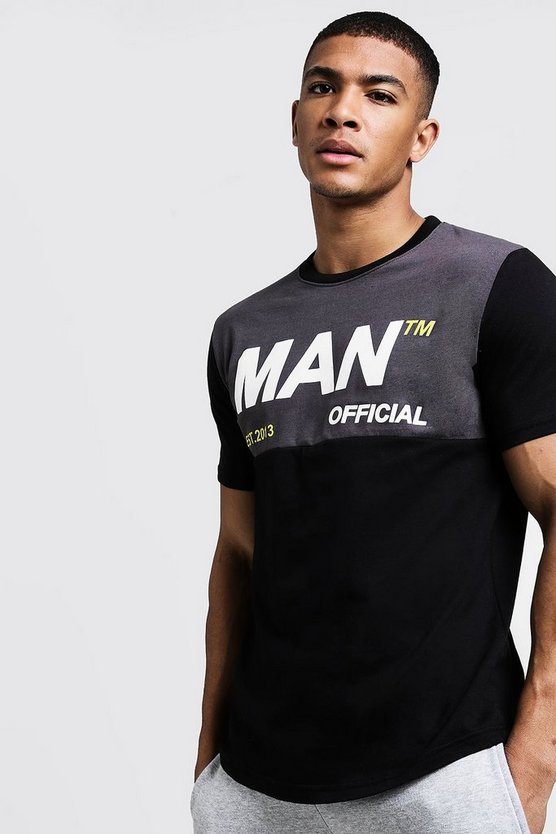 Black Colour Block MAN Official Curve Hem T-Shirt