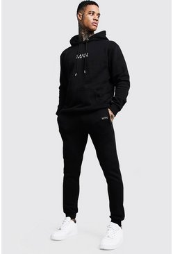 Mens Black Original MAN Print Hooded Tracksuit