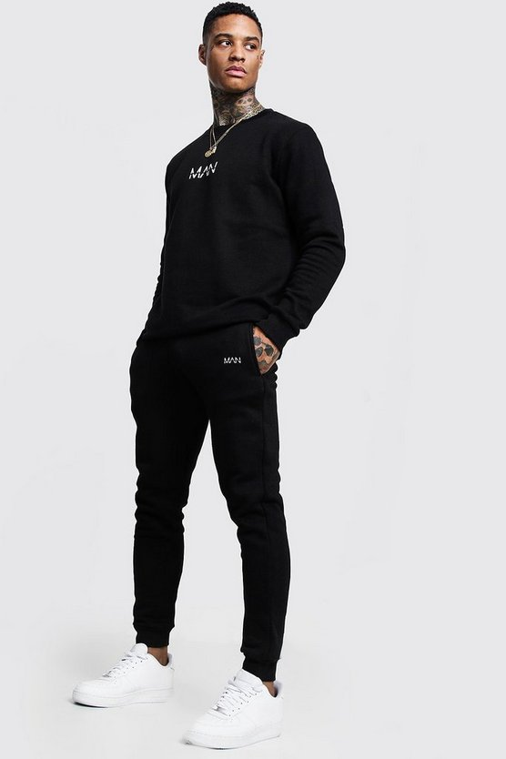 Mens Black Original MAN Print Sweater Tracksuit
