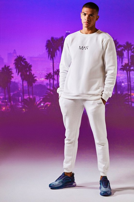 Mens White Original MAN Print Sweater Tracksuit