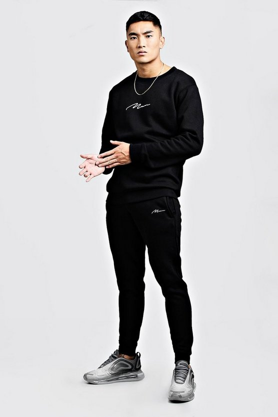 Mens Black MAN Signature Embroidered Sweater Tracksuit