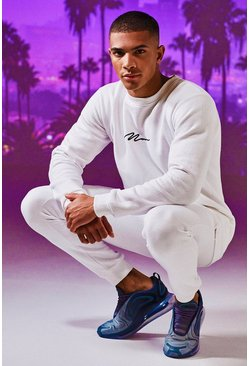 Mens White MAN Signature Embroidered Sweater Tracksuit
