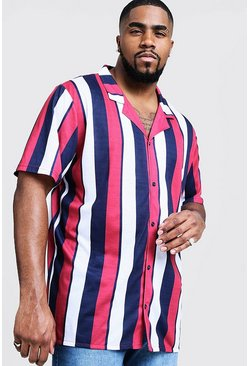 Mens Red Big And Tall Short Sleeve Revere Jersey Shirt