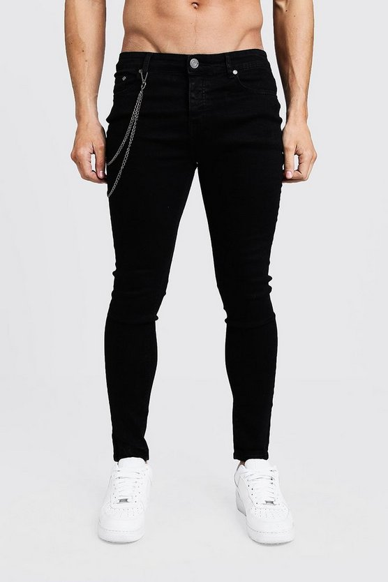 Mens Black Spray On Skinny Jeans With Chain Detail