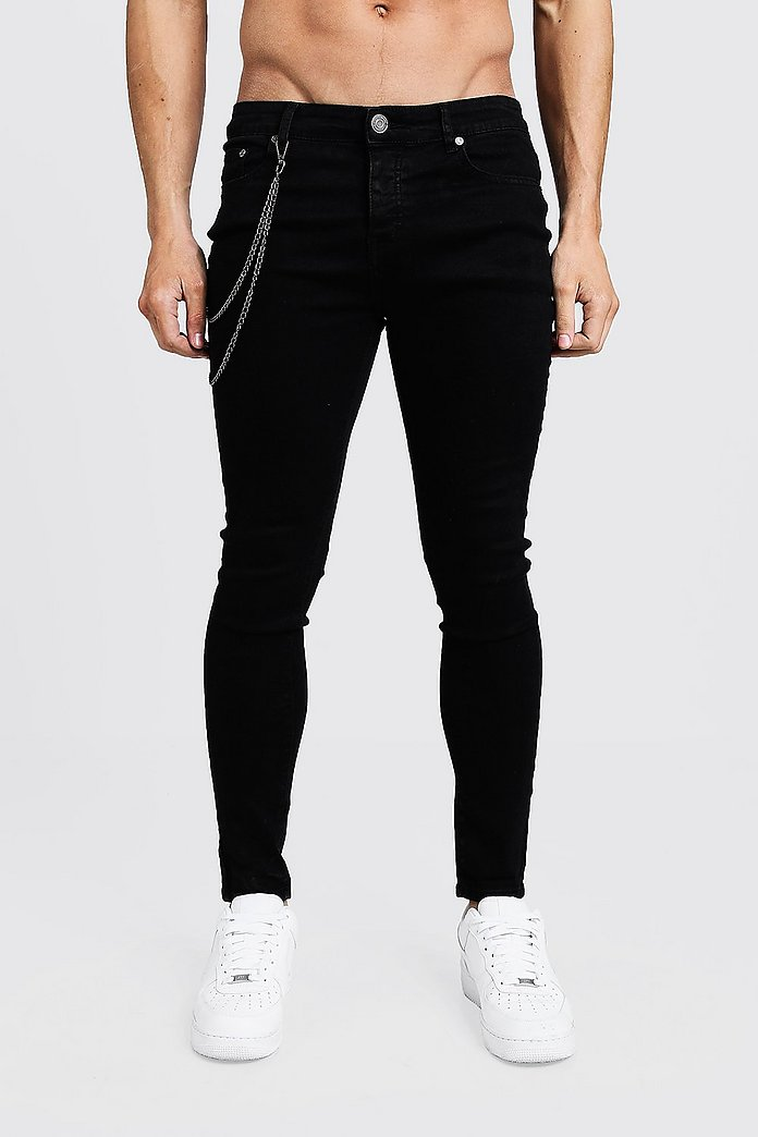 Spray On Skinny Jeans With Chain Detail Boohooman Australia