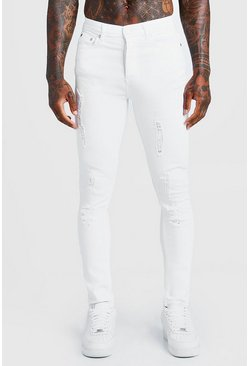 White Super Skinny Jeans With All Over Distressing