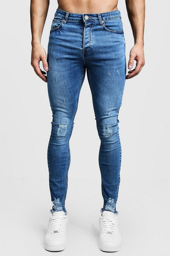 Mens Blue Super Skinny Ripped Knee Jeans With Raw Hem