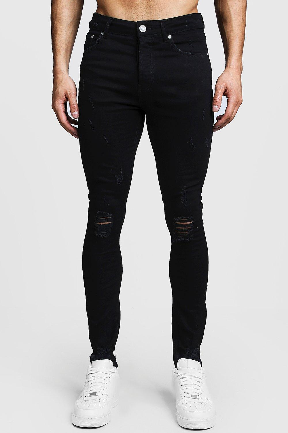 Super Skinny Ripped Knee Jeans With Raw Hem